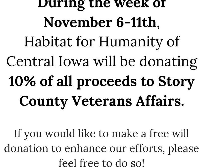 Habitat for Humanity Donates Proceeds to Local Veterans